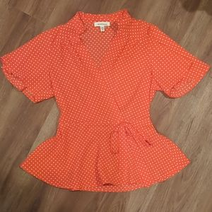Red Polka Dot Blouse Size S